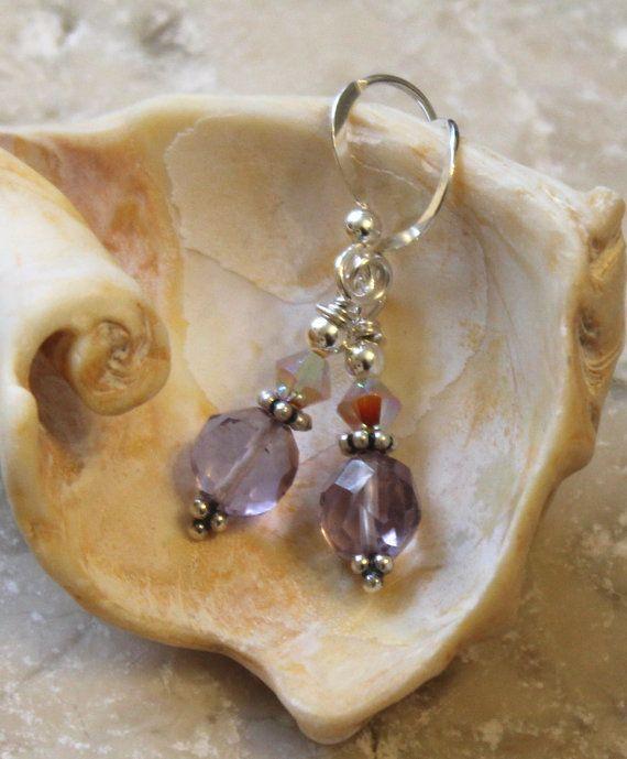 Light Amethyst Earrings with Sand Opal Swarovski by JensFancy