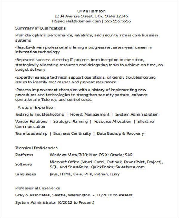 For Experienced Professional Resume Format Professional Resume