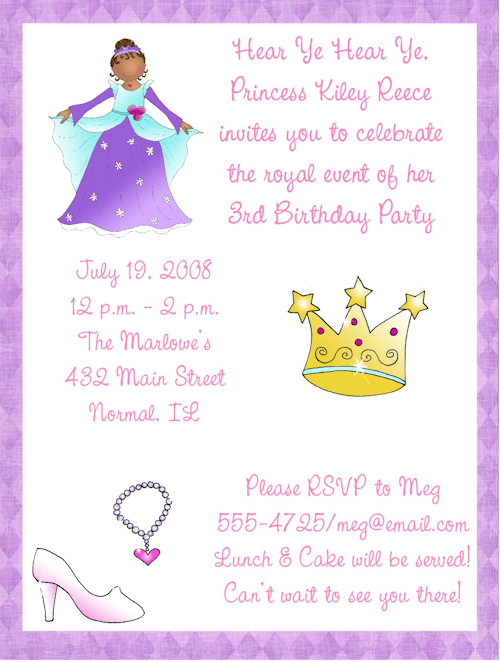 Princess Birthday Party Invitation Wording