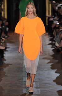 Bright Orange Satin Mariella Dress, Plexi Wedge Summer 2013 Look 6