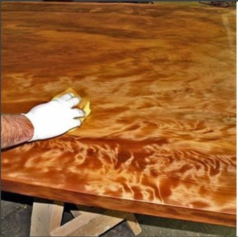 Lying An Oil Finish To A Very Cool Ancient Kauri Active Grained Tabletop Wood Slab