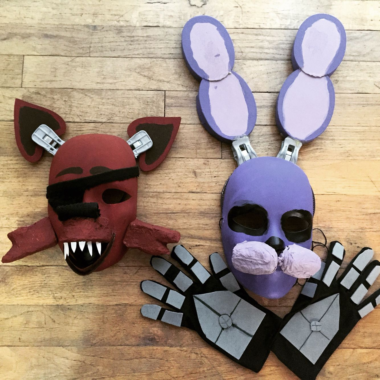 F fnaf bonnie costume for sale - Foxy And Bonnie Painted Plain Masks Glued And Painted Foam Cut Outs Cardboard Ears Hot Glue Super Glue Fnaf Costume