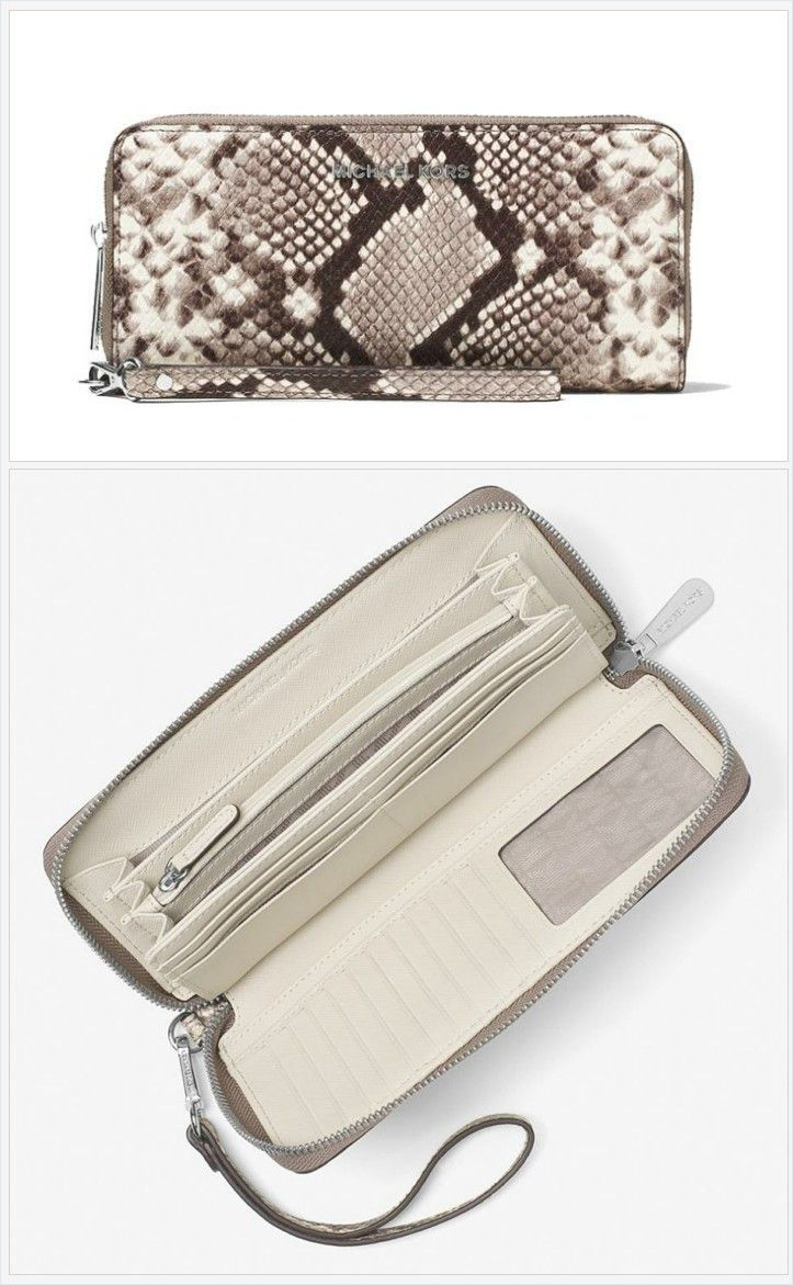 f4e679bdaee4 Michael Kors Cement Saffiano Leather Zip Travel Wallet Wristlet 34% off  retail #michaelkors #