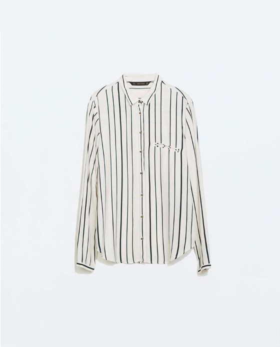e975341a ZARA - WOMAN - STRIPED LONG SLEEVE SHIRT | stylist | Chemise, Zara ...