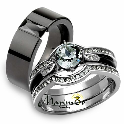 His Hers 4pc Silver And Black Stainless Steel Wedding Engagement Ring Wedding Ring Bands Set Wedding Rings Sets His And Hers Vintage Engagement Rings Sapphire
