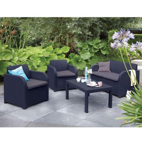 Tesco Direct Carolina Graphite Grey Rattan Garden Set With Cushions Garden Sofa Set Rattan Corner Sofa Rattan Furniture Set