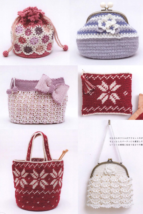 24 Crochet Bags Patterns Knit Bag Patterns Crochet Japanese