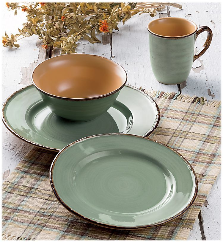 Bob Timberlake Cedar Lake Stoneware Dinnerware 16-Piece Set | Bass ...