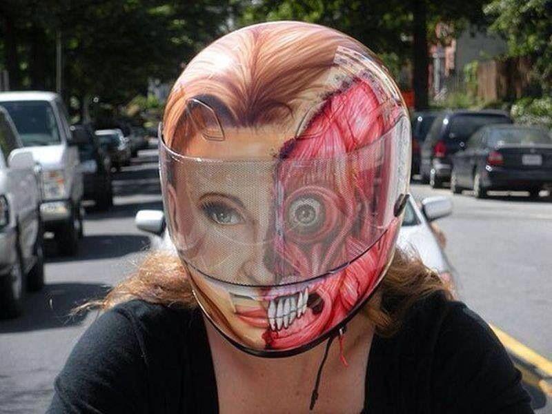 Creepy Helmet With Images Creative Bike Helmet Cool