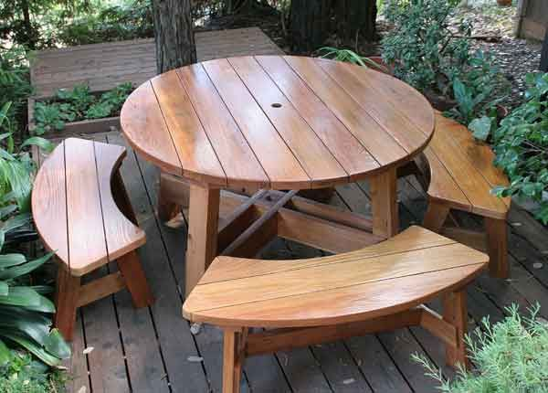 Round Picnic Table With Movable Benches Wooden Garden Table