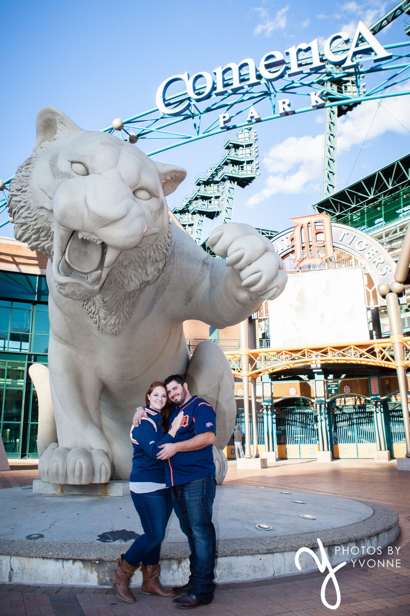 Brittany & Andy s baseball stadium engagement session at merica