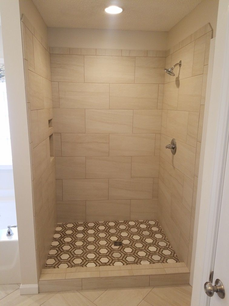 Hex Floor Tile In A Shower With A 12x24 1 2 Offset Shower Wall Small Bathroom Tiles Shower Tile Tile Bathroom