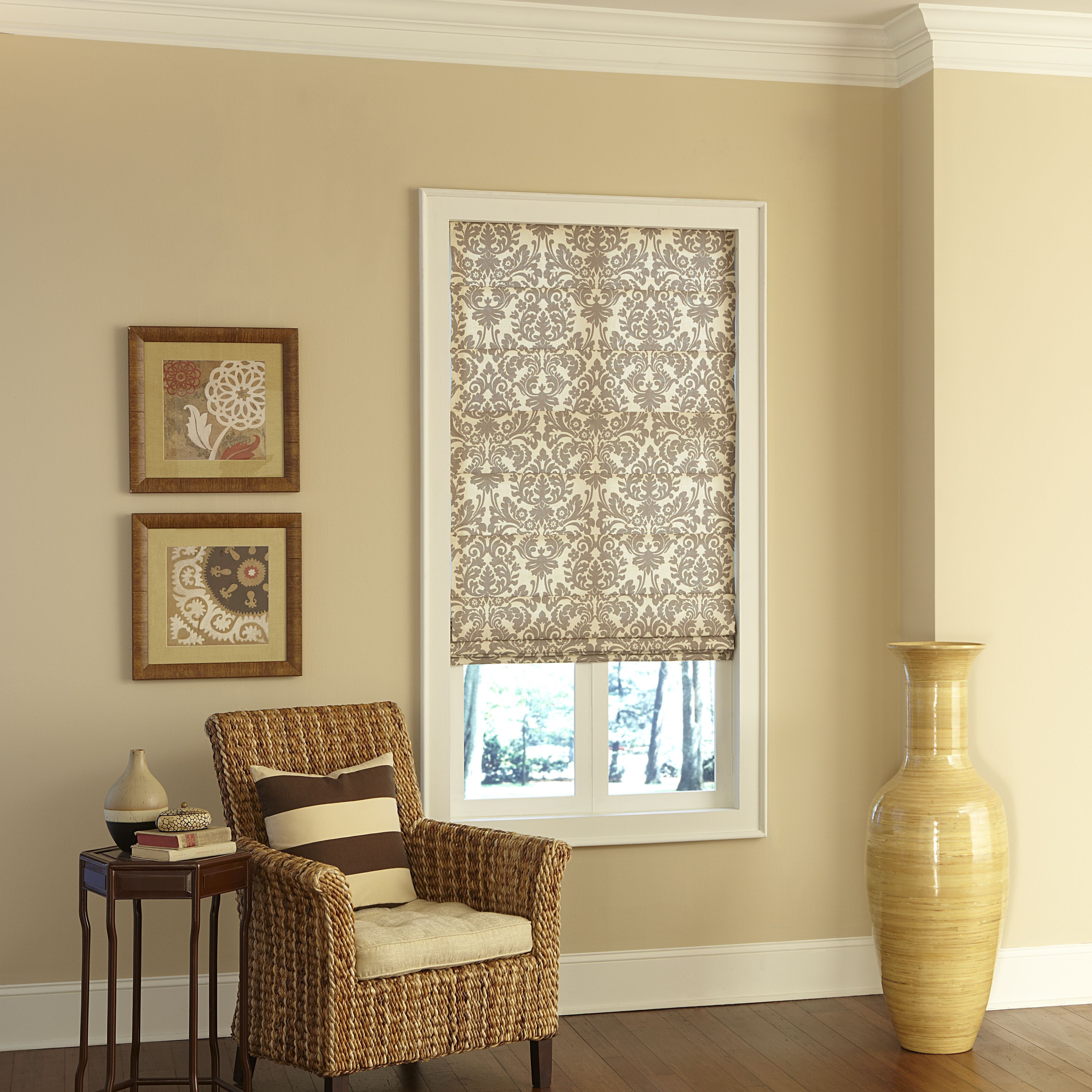 Breathtaking Window Curtain Decor With Fascinating Lowes Bali Blinds Idea Winsome Classic Roman Shade For Small White Wood Stained