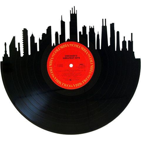Chicago Skyline Vinyl Record Art Vinyl Record Art Chicago Skyline Record Art