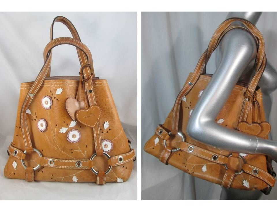 Limited Edition Luella Bartley Daria Tote Bag Leather Tan Flower 795