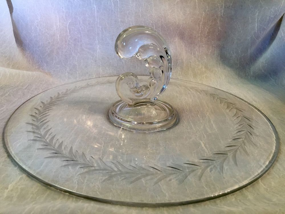 Vintage Fostoria Glass HOLLY Center Handle Tray Clear Grey Cut Etched Tidbit #Fostoria