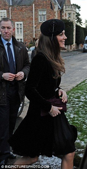 Kate Middleton arrives for the wedding of Sarah Stourton and Harry Aubrey-Fletcher in Aldborough, Yorkshire, January 7, 2011.