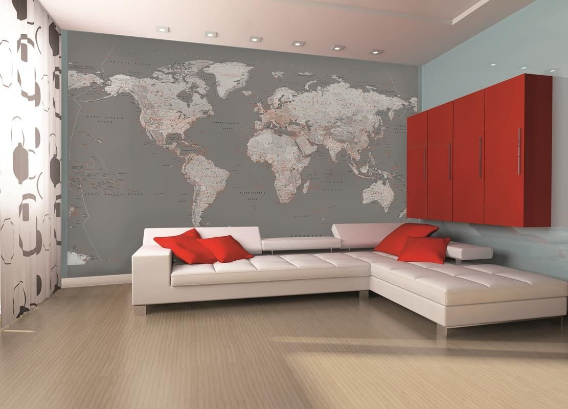 Fashionable world map wall mural for any room throughout your home fashionable world map wall mural for any room throughout your home in vogue greys gumiabroncs Gallery