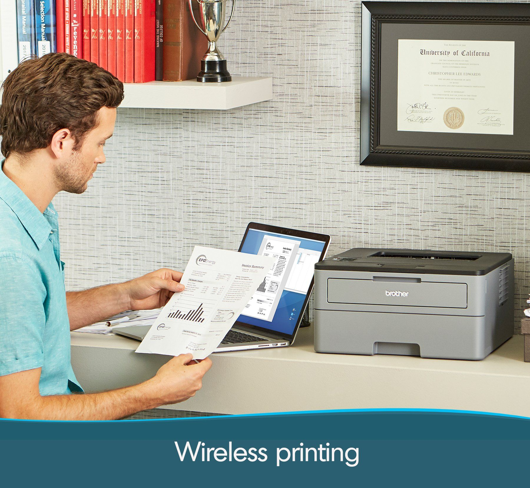 Brother Compact Monochrome Laser Printer Hll2350dw Wireless Printing Duplex Twosided Printing Amazon Dash Replenishment Enable Laser Printer Printer Monochrome