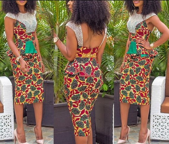 Cotton African print pencil dress Please feel free to inbox me for ...