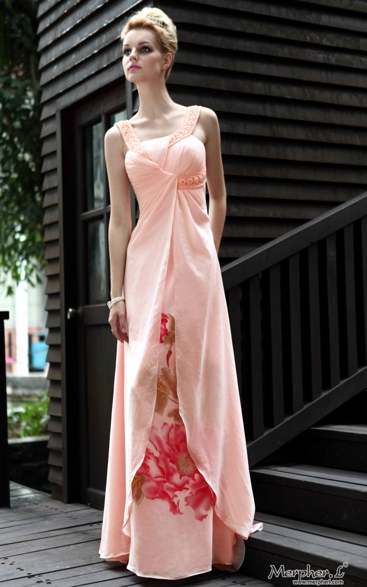 New Pink Cocktail Prom Chiffon One Shoulder Beading Formal Long ...
