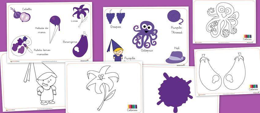 Recursos para el aula: Color morado   Színek, formák   Pinterest ...