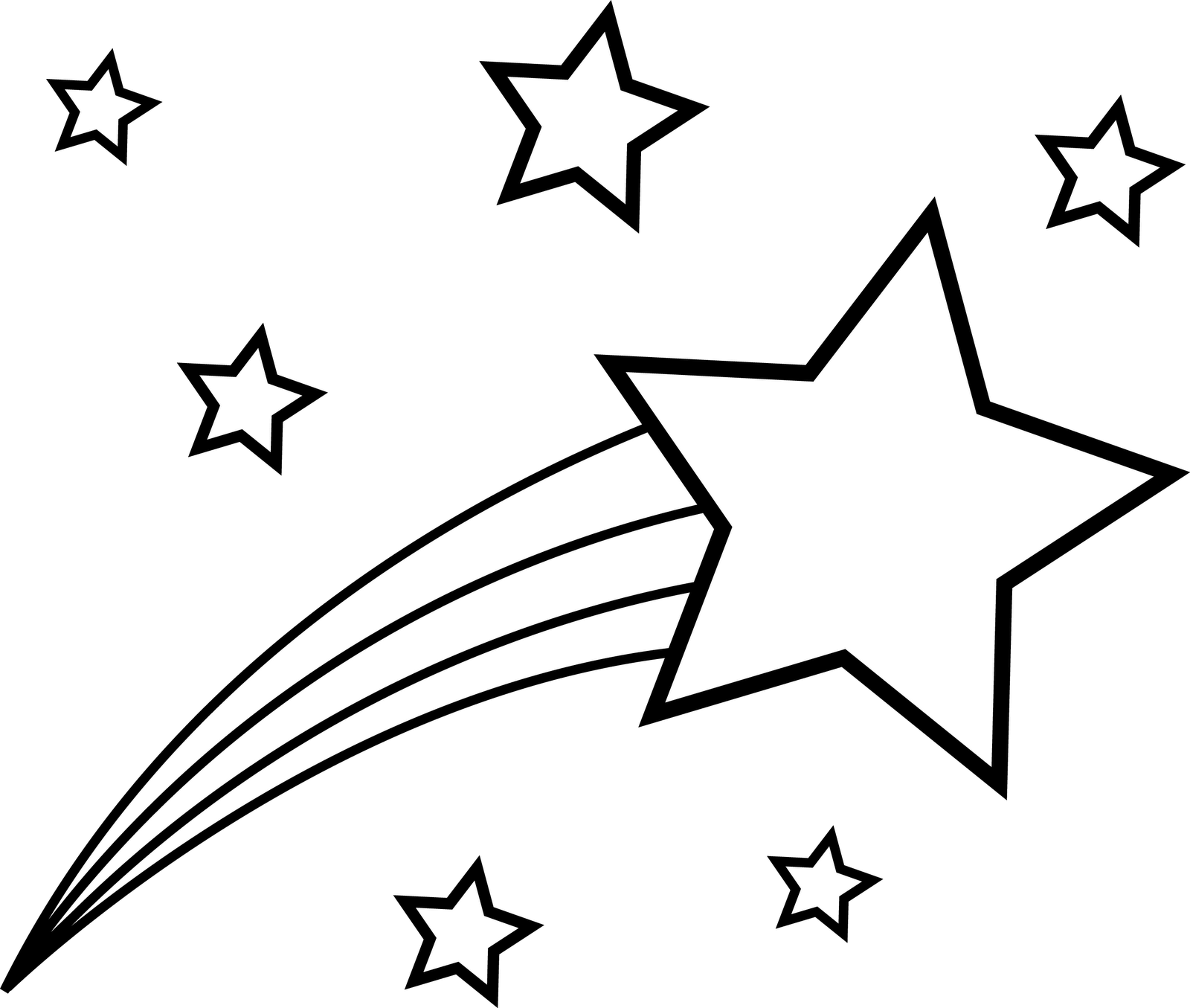 shooting star clip art black and white  clipart panda