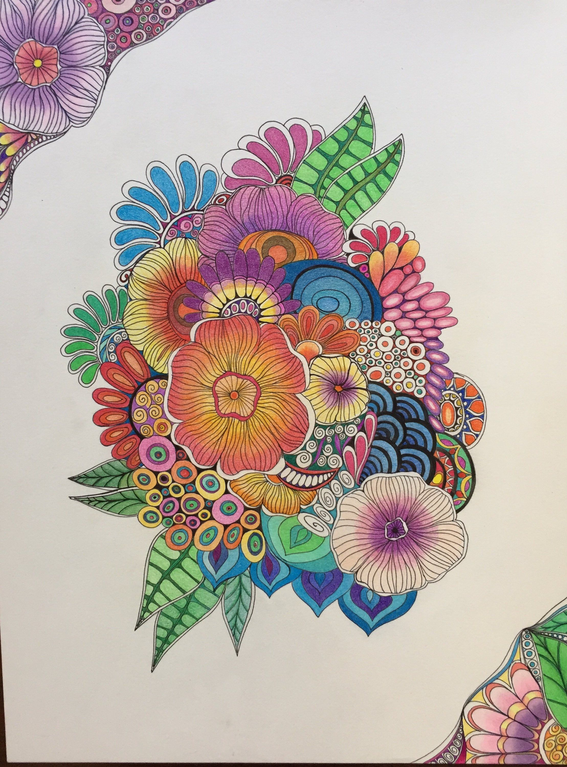 Zentangle Flowers Abstract Flowers Flower Art Colored