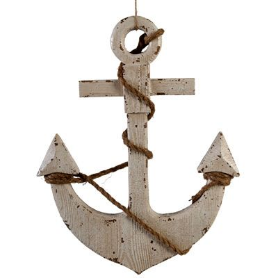 Wooden Anchor Wall Decor white wood anchor & rope decor | inspiration - marine for my boys