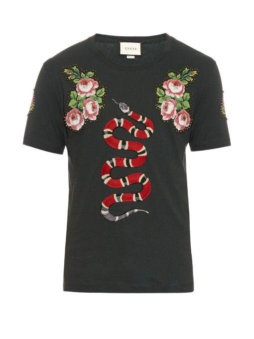 12b23788ad6 GUCCI Snake Appliqué Cotton-Jersey T-Shirt.  gucci  cloth  t-shirt ...