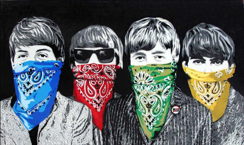 Mr brainwash beatles bandidos black contemportary for Mural mr brainwash