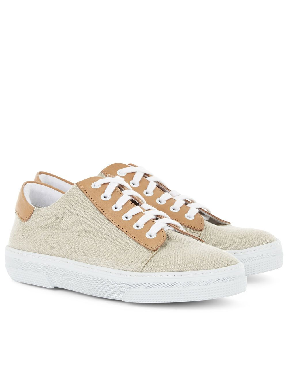 Bi-Colour Linen Low-Top Sneakers