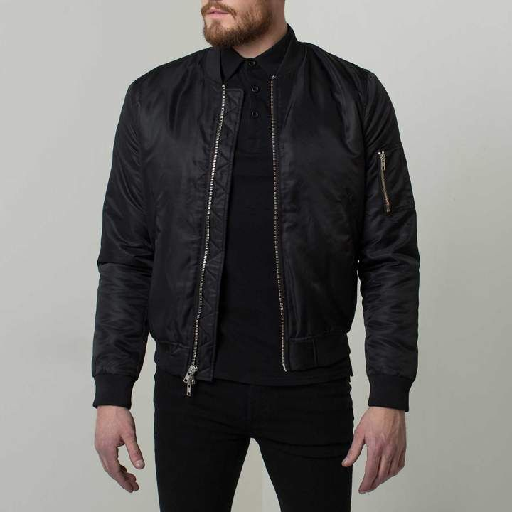5c723faef DSTLD Mens Nylon Bomber Jacket with Silver Zippers in Black ...