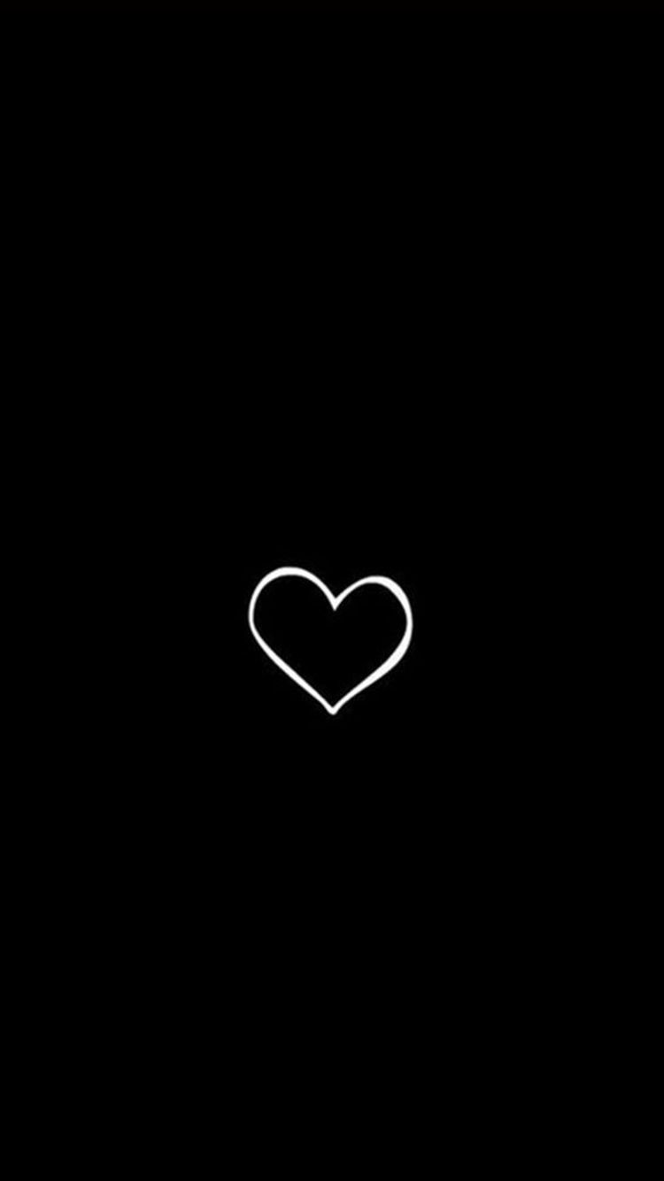 Simple Heart Symbol Black Background iPhone 6 Wallpaper #blackwallpaperiphone
