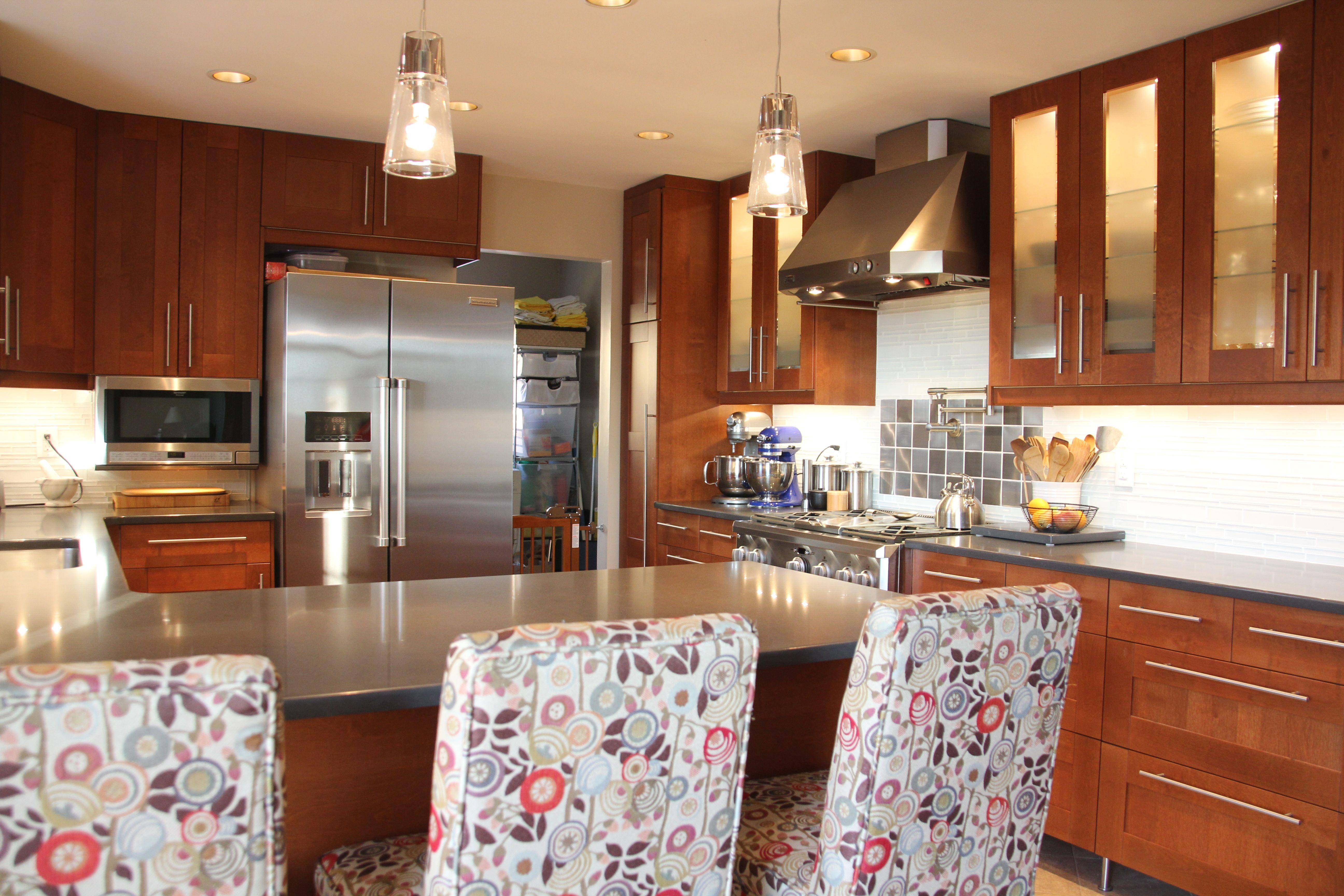 Finished Kitchen! Ikea Adel Medium Brown, Caesarstone Raven quartz, Pier One barstools