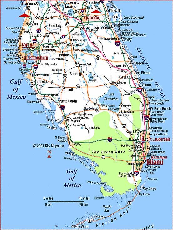 Map Of Florida East Coast Cities map of Southern Florida (With images) | Map of florida beaches