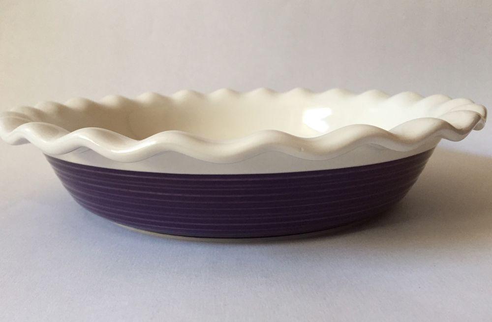Corning ware etch 9.5 scalloped ruffled pie plate pan stoneware purple plum & Corning ware etch 9.5 scalloped ruffled pie plate pan stoneware ...