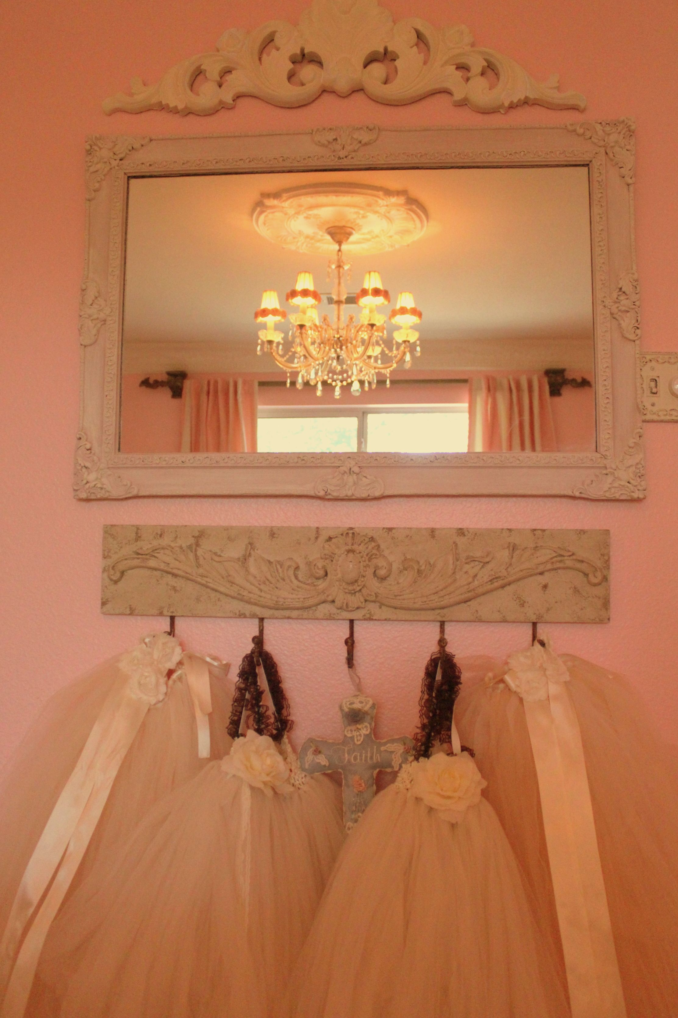 Shabby chic girls princess bedroom tutus mirror and for Bedroom chandelier ideas