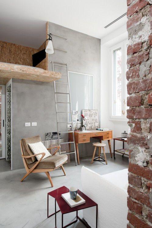 30mq con soppalco – milano | Interiors | Pinterest | Soppalco, Case ...
