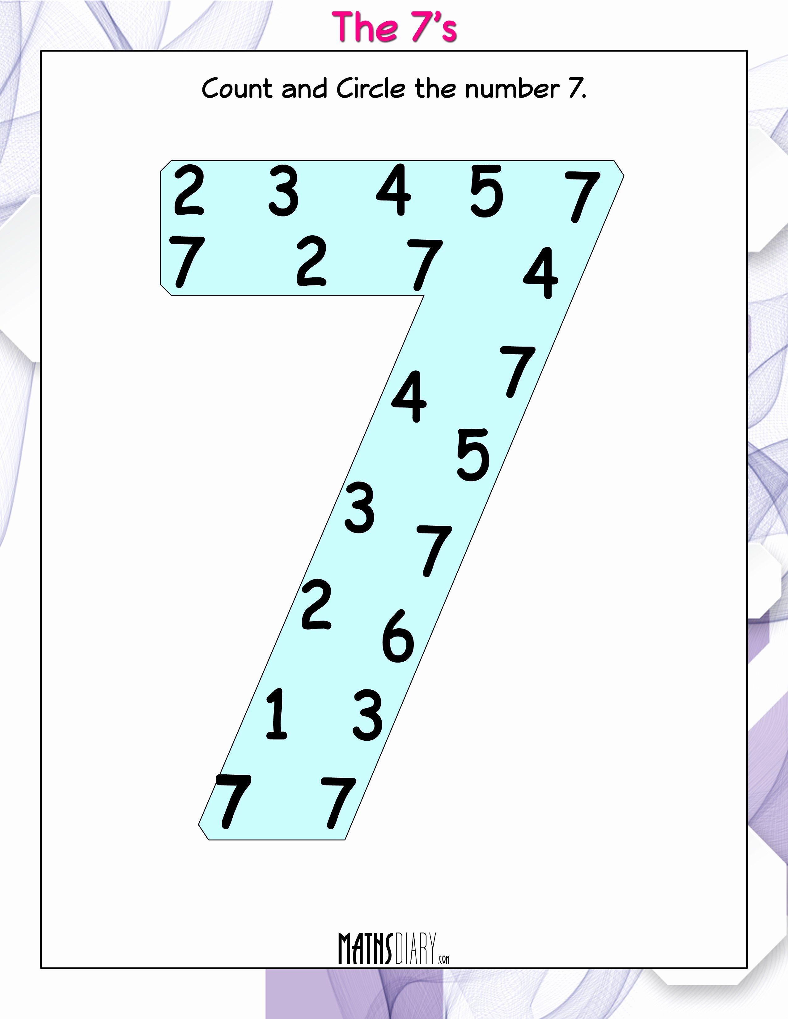 Number 7 Worksheet For Preschool Di