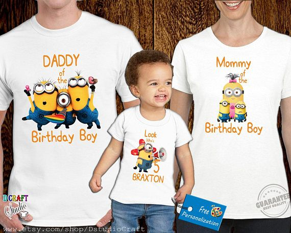 Minion Theme Birthday Party Family Set T Shirt Boy Personolized Bir