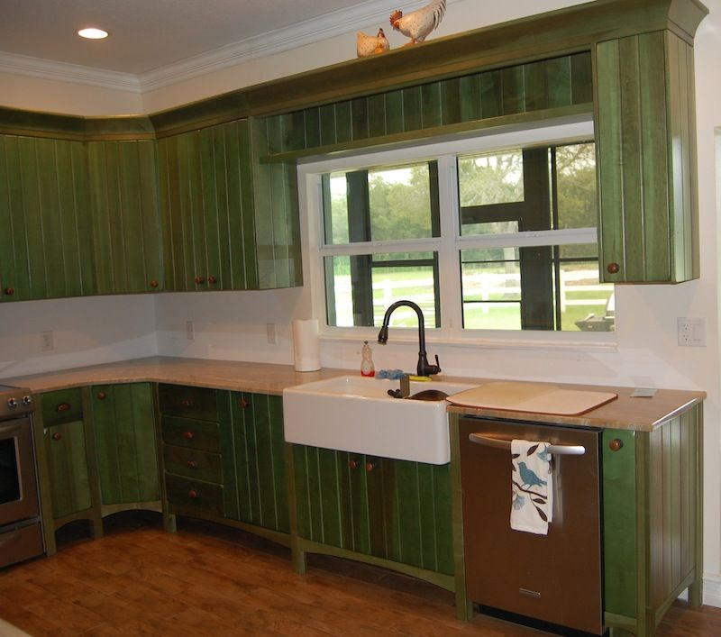 lovely emerald green kitchen cabinets | emerald green kitchens | emerald-green-distressed-kitchen ...