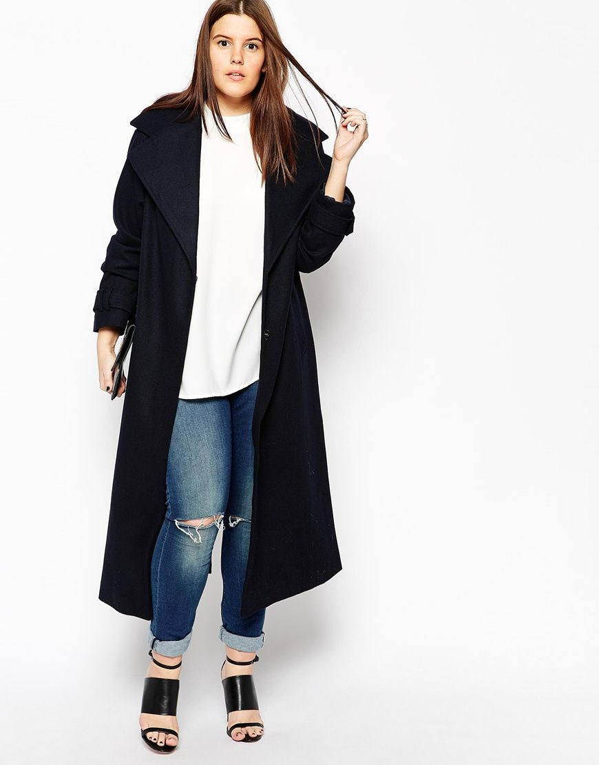 20b1ace0907 ASOS CURVE Coat With Military Detail In Maxi Length
