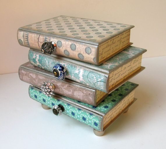 How To Decorate A Treasure Box Fascinating Pile Of Books Four Drawer Jewelry Box Trinket Box Treasure Box Decorating Inspiration