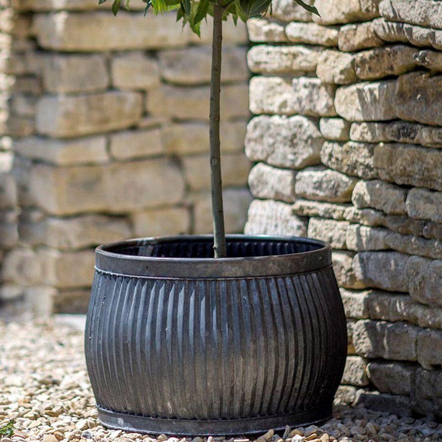 Large Round Shallow Rustic Vence Fluted Zinc Planter. Trough PlantersGarden  ...