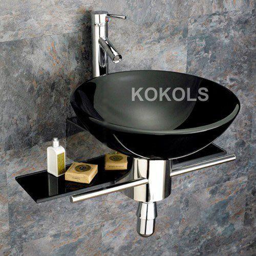 Wall Mounted Bathroom Black Tempered Glass Sink Vanity Modern Faucet