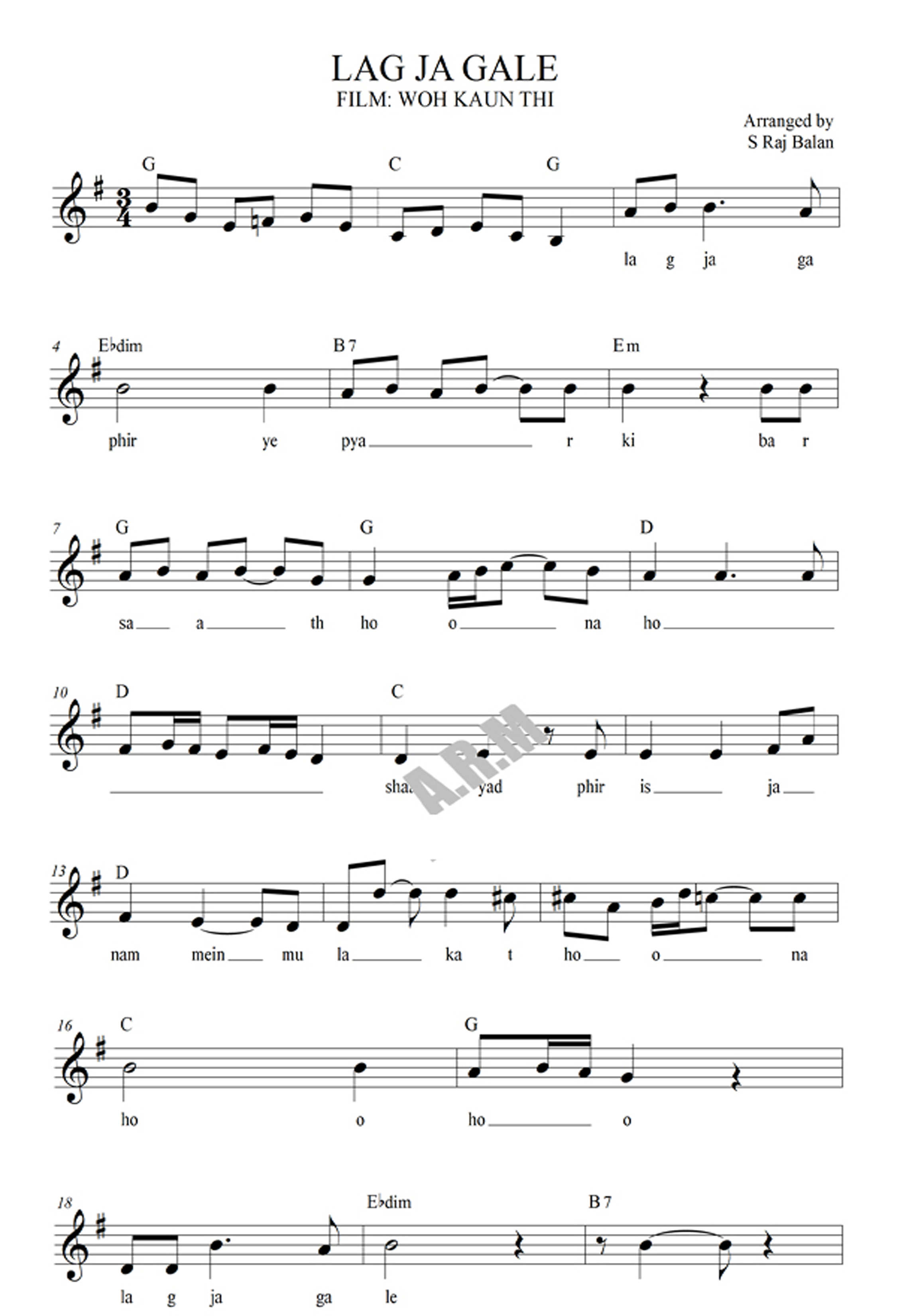 Lag Ja Gale Song Sheet Music Notes In Western Format With Full