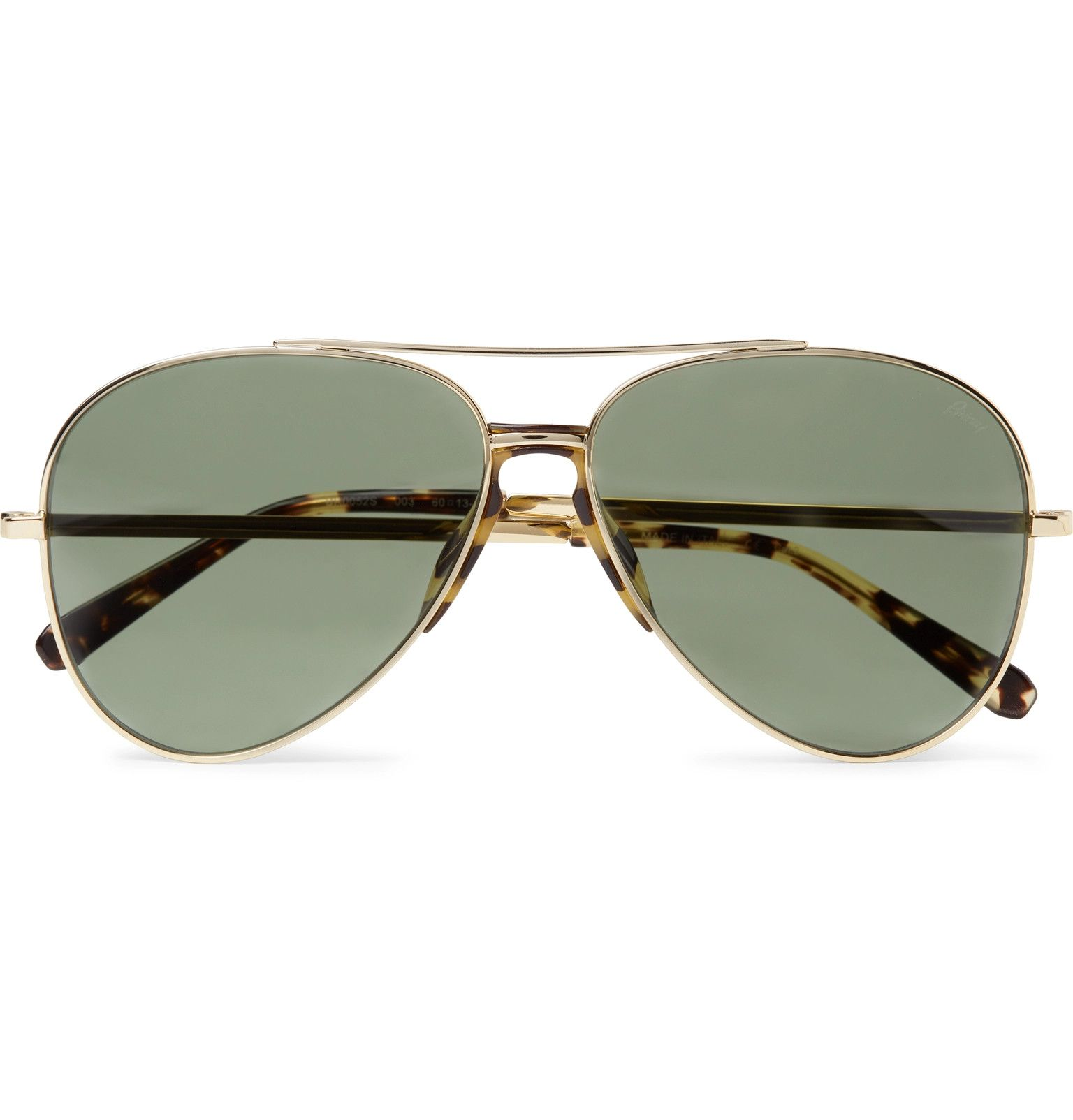 5bfb6476db Brioni - Aviator-Style Tortoiseshell Acetate-Trimmed Gold-Tone Sunglasses