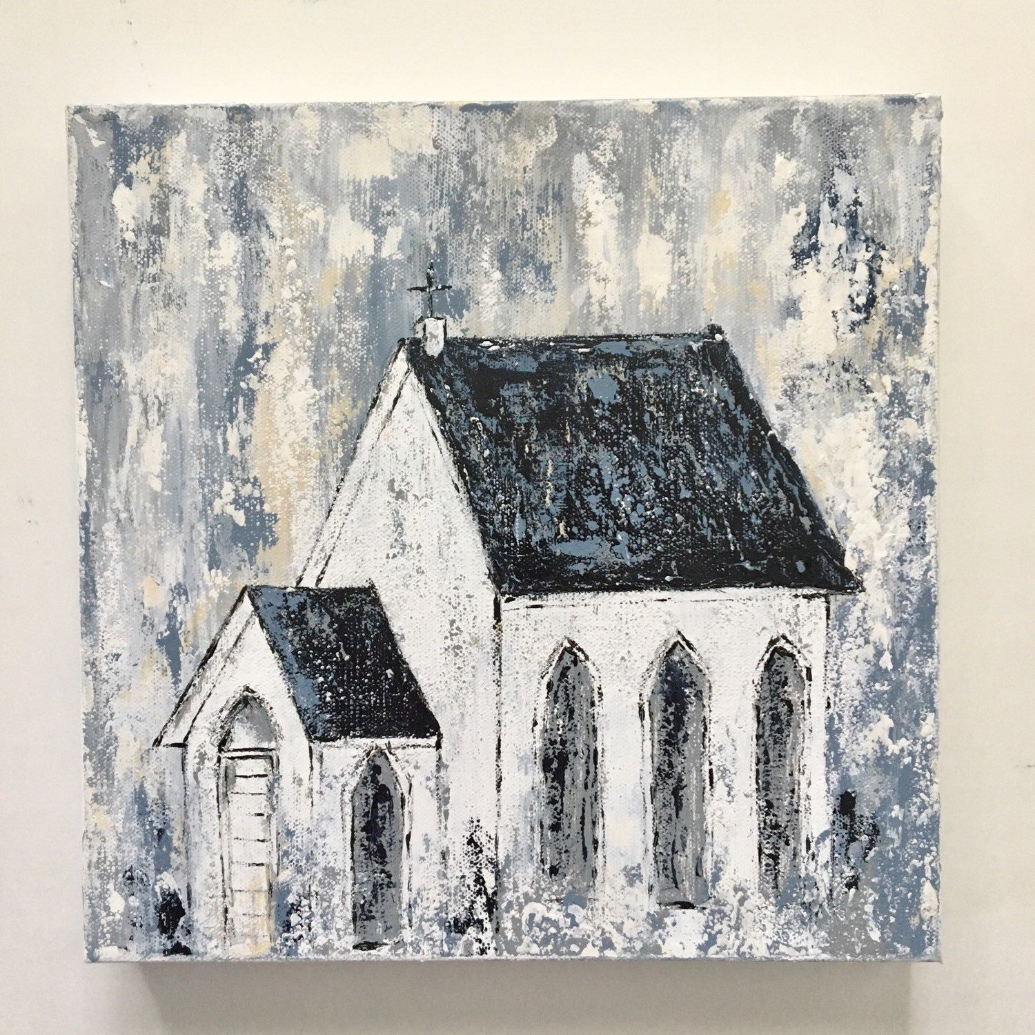 New Abstract Country Church Painting