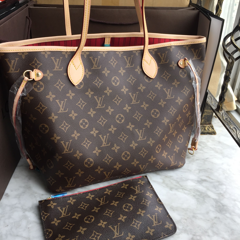 8815c877b0269 Louis Vuitton Lv neverfull bag monogram with red interior ...